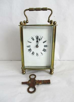 Stunning Antique French Brass Carriage Clock + Key & Case Fully Working