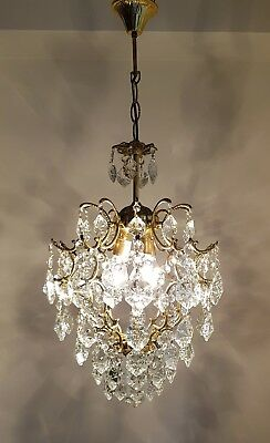 Vintage Cage Style Brass & Crystals Chandelier from 1970's