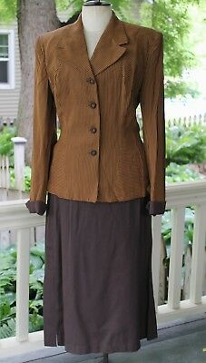 NOS VTG 1940s Womans Striped Gabardine Suit 2 Pc New with Tags Swing Era VLV