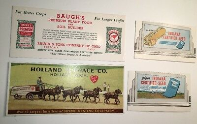 4 Different Advertising Blotter Indiana Seed Corn Baughs Feed & Horse Drawn Holl