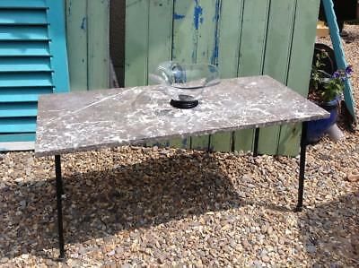 Vintage 50's French Marble Coffee Table Cast Iron Superb Quality Modernist Chic