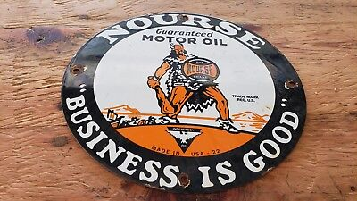 Nourse Business Is Good Porcelain Pump Plate Sign Can Viking Warrior Club Seed