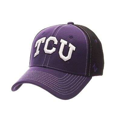 sports shoes 79ab8 46847 Tcu Horned Frogs Zephyr Rally Purple black 2-Tone Flex Fit Fitted Hat