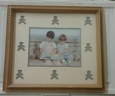 """Home Interiors picture - children reading with bear cut outs in frame 13"""" x 15"""""""