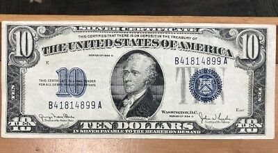1934-D $10 Ten Dollar Blue Stamp Silver Certificate Bill, AU Condition!