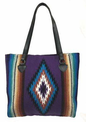 Southwest Ladies Serape Purse Tote San Carlos Shopper Soft Colorful Design CC