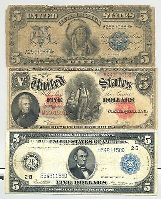 $5 woodchopper, a 1899 Chief Silver Certificates and a higher grade $5 1914 FRN