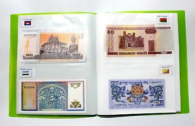 30 Countries World Banknotes with logo flags Collections Book Album Uncirculate