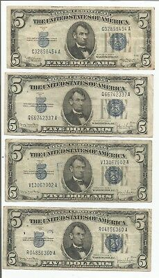 1934 $5 Silver Certificates Lot