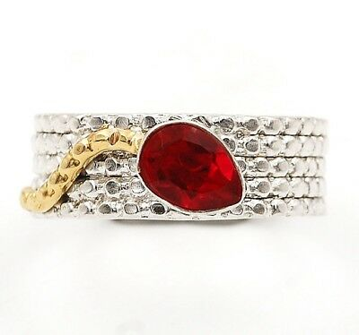 Two Tone- Rubellite Tourmaline 925 Solid Sterling Silver Ring Jewelry Sz 8