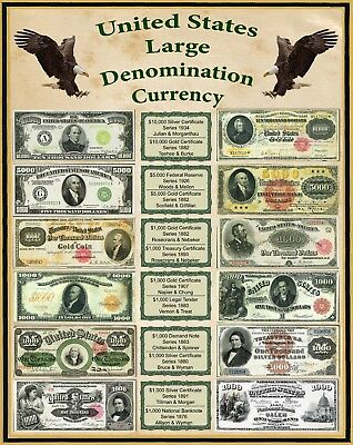 "United States Large Denomination Currency 1800's 16"" X 20"" Poster"