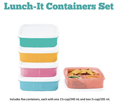 Tupperware Set of 5 Pastel Divided Sandwich Lunch It Containers +White Seals New