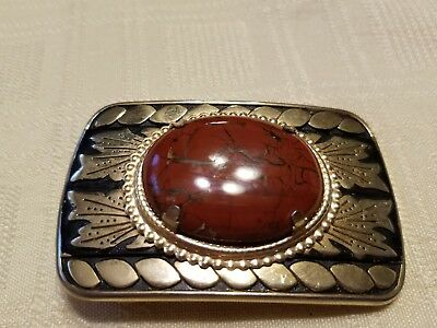 Vintage Southwestern Belt Buckle coral arrows and rope decor
