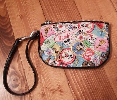 Disney World Disney Parks Wristlet Wallet Purse Souvenir Black Patches Pictures