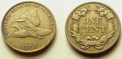 Nearly A/u 1857 Flying Eagle Cent-Strong Details! Free Shipping!