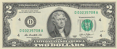 One - $2 Two Dollar Bill -  New Uncirculated Consecutive 2013 CU US BEP Mint