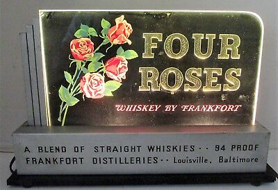 FOUR ROSES WHISKEY BY FRANKFORT Light Up Glass Back Bar Counter SIGN