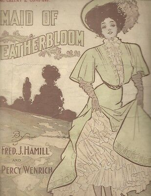1908 Maid of Heatherbloom Petticoats & material adv sheet music; PERCY WENRICH
