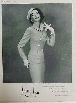 1953 LILLI ANN women's Fabric of Italy flannel Suit Vintage fashion ad