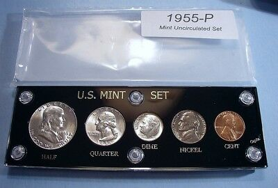 1955 MINT SILVER SET of U.S. COINS LUSTROUS MINT STATE / BRILLIANT UNCIRCULATED