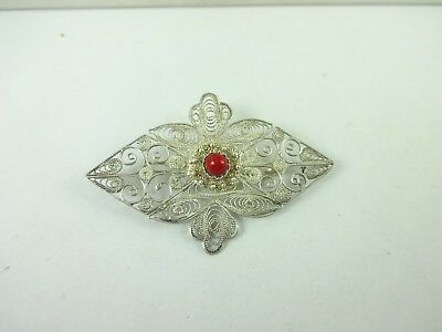 Vintage Sterling Silver Beautiful Design Filigree Pin Brooch