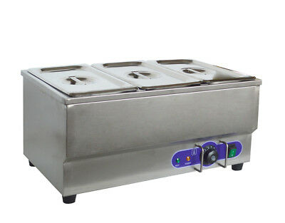 "Food Warmer 6"" 1/3 Size Pans 1.5KW Restaurant Stainless Steel Bain Marie"
