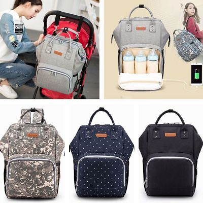 Baby Diaper Nappy Mummy Changing Backpack Multi-Function Hospital Bag + USB Port