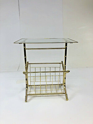 Vintage GOLD SIDE TABLE Hollywood Regency faux bamboo end mid century brass rack