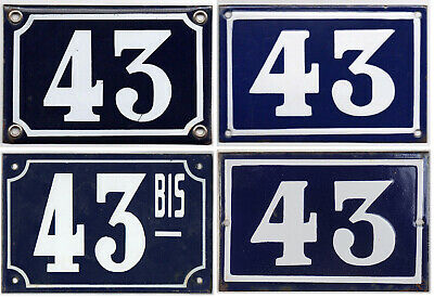 Old blue French house number 43 door gate wall fence street sign plate plaque