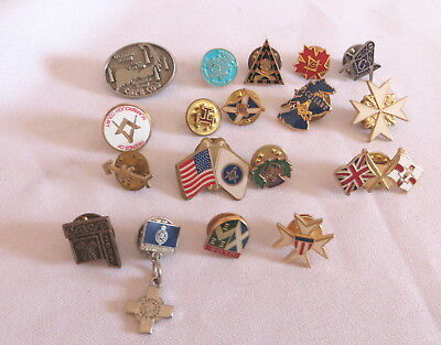 18 Masonic Lapel Pin Badges - All Different (1B)