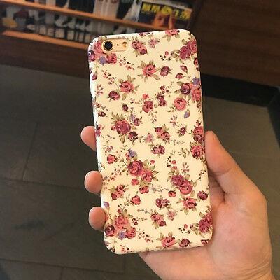 Chinese White Floral Rose Flower Hard Slim Case Cover for iPhone X 8 Plus 6S 5S