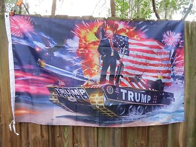 3x5 TRUMP FLAG 2020 USA GADSDEN TANK GUN MILITARY PRESIDENT RE ELECT  PHOTO US