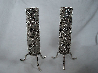 Pr. Spill Holders Chinese Export Sterling Silver Circa 1890