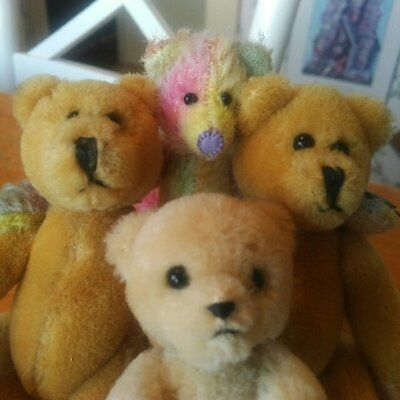 Lot of 4 Mohair and Wool Teddy Bears, Boyds, Russ and Vintage EUC 6in/4in