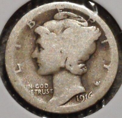 Silver Mercury Dime - 1916-S - Early Dates! - $1 Unlimited Shipping