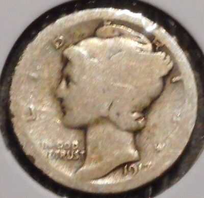 Silver Mercury Dime - 1917-D - Early Dates! - $1 Unlimited Shipping