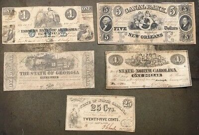 5 obsolete currency bills State of North Carolina Georgia, Alabama & New Orleans