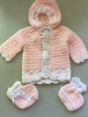 Crochet Pink Pink Baby Sweater With Attached Hat & Booties