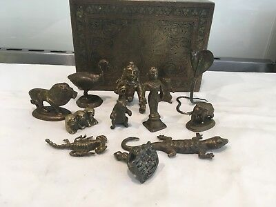 Antique Indian Box Of Brass , Bronze Animals, A Seal , Silver Cobra