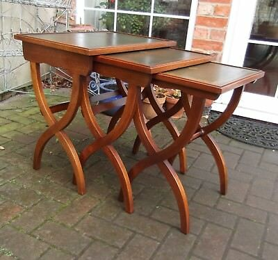 Bevan Funnell Reprodux Solid Mahogany X-Frame Nest Of Tables~Green Leather Tops