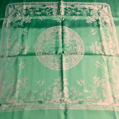 "Irish Rayon? Damask Tablecloth, Table Square Green Willlow Pattern 36"" x 36"""