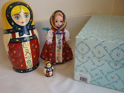 """Madame Alexander RUSSIA 8"""" DOLL and Wooden NESTING DOLLS Great Set!"""