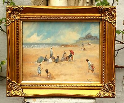 Exquisite French School Oil on Board - Au Bord de la Mer