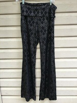 Black and Silver Assuit Fold-Down Belly Dance Pants, M, Brand new