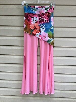 Pastel pink with Floral Top Fold-Down Pants, XS;