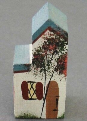 VINTAGE Miniature Hand Made/Painted Wood Dark Blue Split Two Story House LOWDER