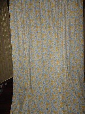 Laura Ashley Charlotte Confetti Blue Yellow Floral (3) Lined Curtain 41 X 84
