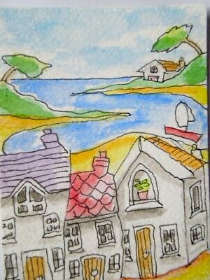 ACEO original watercolour painting - Coastal town - by Polly