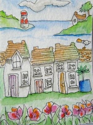 ACEO original watercolour painting -Coastal village - by Polly