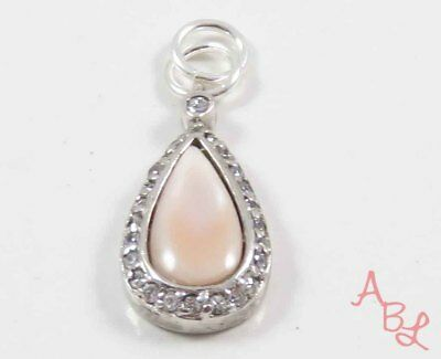 Sterling Silver Vintage 925 Charm Pink Mother Of Pearl Pendant (2.7g) - 731185